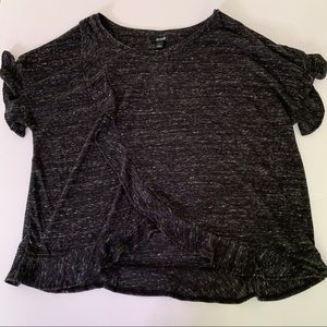 ana Ruffled Front SS Marled Soft Tee Shirt L NEW